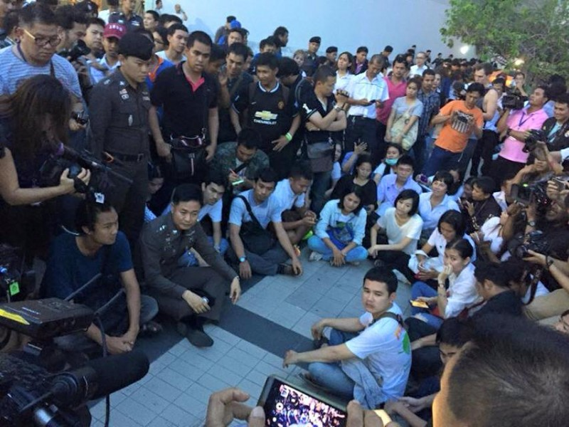 Students gather in a plaza during the coup anniversary.  They were later arrested by the police. Photo from Facebook page of LLTD