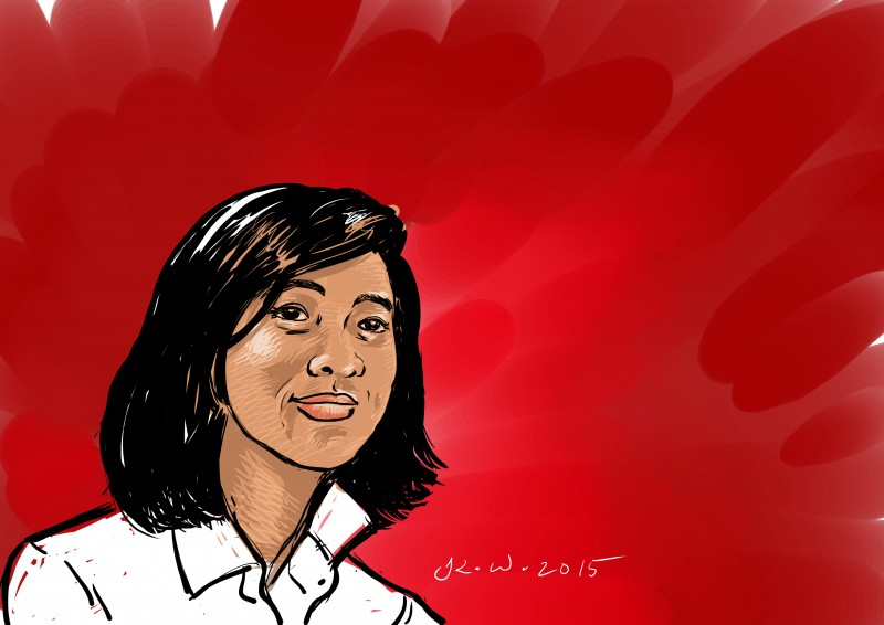 Honey Oo, 27-year old student leader arrested last March 13. Portrait by Kenneth Wong, republished with permission.