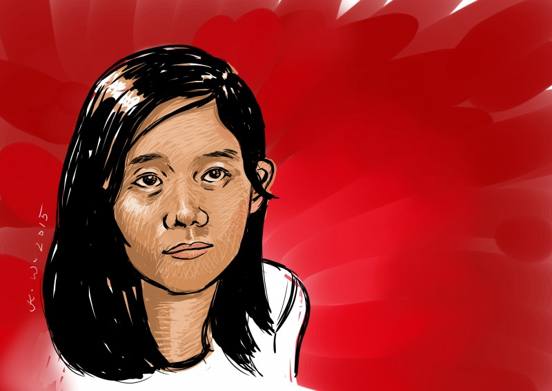 Phyo Phyo Aung, 27-year old student leader arrested last March 10. Portrait by Kenneth Wong, republished with permission.