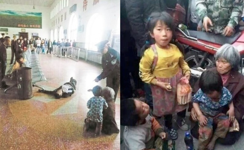 Viral images of a petitioner, Xu Chunhe shot dead by a police officer at Qing'an train station. His mother and children were around when the incident happened.