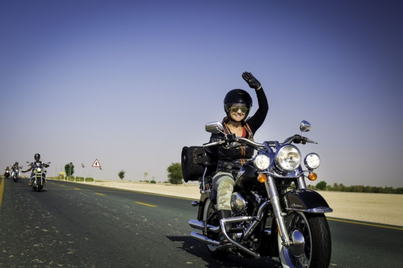 Dubai Ladies of Harley riders riding back to Dubai after marking International Female Ride Day two. Credit: Amanda Fisher. Published with PRI's permission