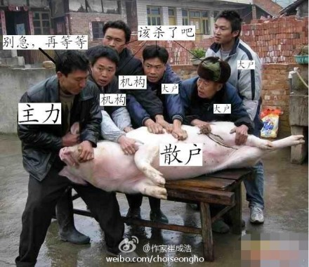 A widely circulated picture explaining the relation among different players in China's stock market.