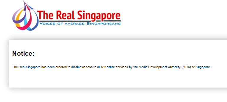 Screenshot of the website of The Real Singapore