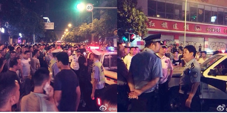Photos showing a street confrontation between Uber drivers and traffic police on May 10 in Chengdu. Photos taken by Weiboer Wong Pok.