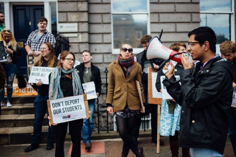 Students of the Glasgow university protesting to stop deportation of Pakistani student, Majid Ali