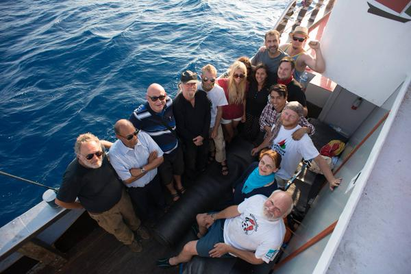 Activists on board the  Marianne now being held in Israel. Photograph from @GazaFFlotilla