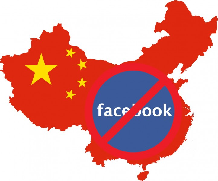 Facebook is banned in China, but Chinese media outlet, the People's Daily have 5.5 million fans there. Remixed image.