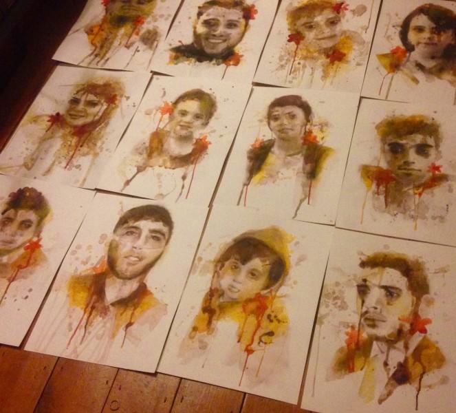Портреты жертв в Газе, созданные Керри Беоллом.