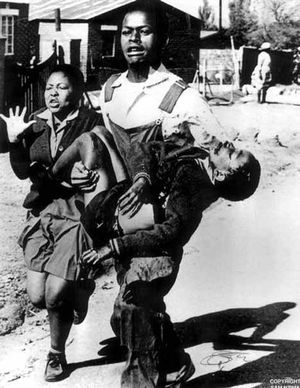 The iconic image taken by South African photojournalist Sam Nzima of Antoinette Sithole and Mbuyisa Makhubo carrying and 12-year-old Hector Pieterson  after he was shot by South African police.