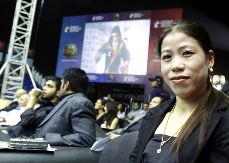Indian women boxer Mary Kom during the World Series Boxing competition in Mumbai, India on March 2, 2012. Photo from Flickr user WorldSeriesBoxing. CC BY-ND 2.0