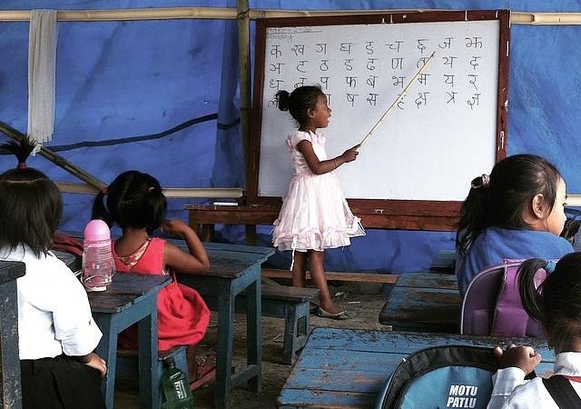 Students of Dibya Jyoti School in Bungamati. Photo by @kishorksg Used with permission