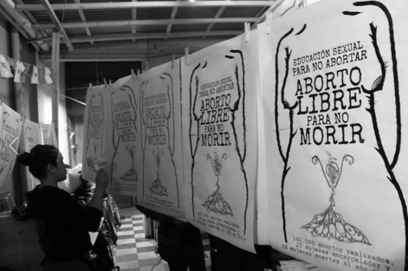 Brigada Serigráfica Marcha Aborto Libre. Chile