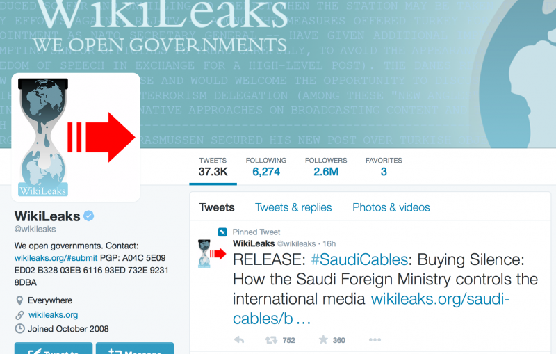 Wikileaks Twitter account