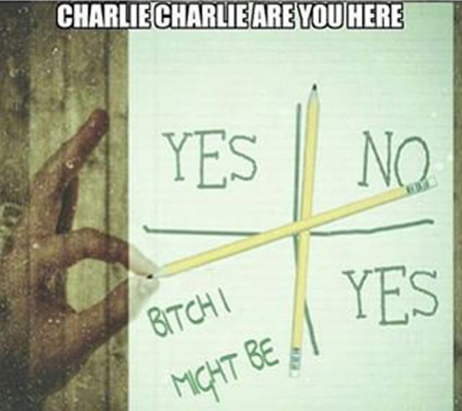 Internet meme about the #CharlieCharlie game.