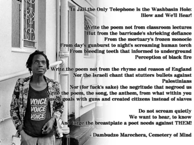 Dambudzo's photo and poem from Cemetery of the Mind posted on his Facebook page.
