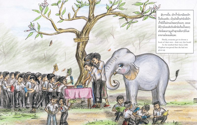 The story of the elephant Boom-Boom is told in the book  'The Little Elephant That Could'. Boom-Boom helps in distributing books in remote locations in Laos
