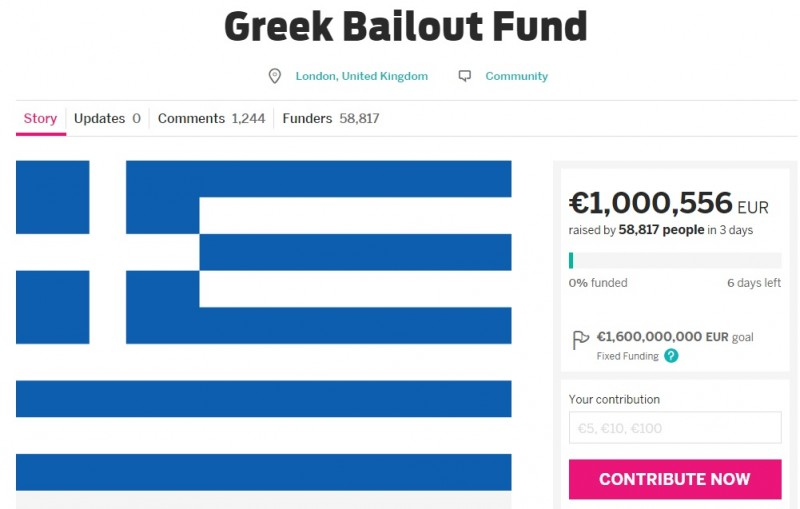 "Screenshot of the Indiegogo campaign page for ""Greek Bailout Fund."""