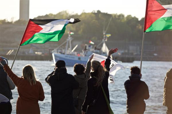 Marianne of Gothenburg departs. (Photo: Ship to Gaza)