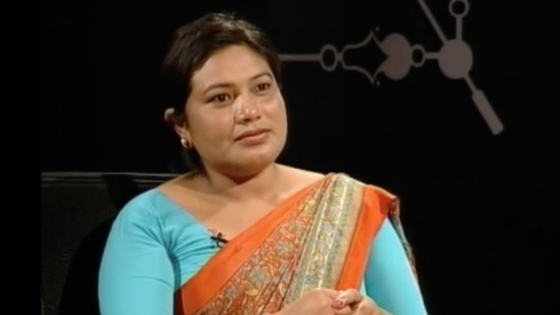 Screenshot of Shanta Chaudhary, Former CA Member, in an interview with Nepali journalist Dil Busan Pathak at the talk-show Tough Talk on News 24 Television.