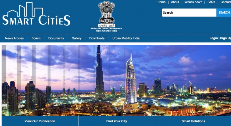 Screenshot of the Indian Smart Cities Project Website