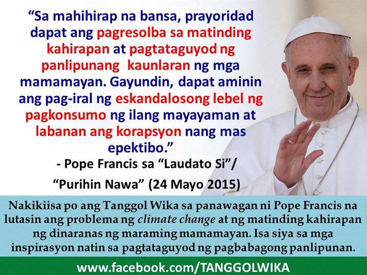 The translation refers to this quote from the pope's encyclical: For poor countries, the priorities must be to eliminate extreme poverty and to promote the social development of their people. At the same time, they need to acknowledge the scandalous level of consumption in some privileged sectors of their population and to combat corruption more effectively.""