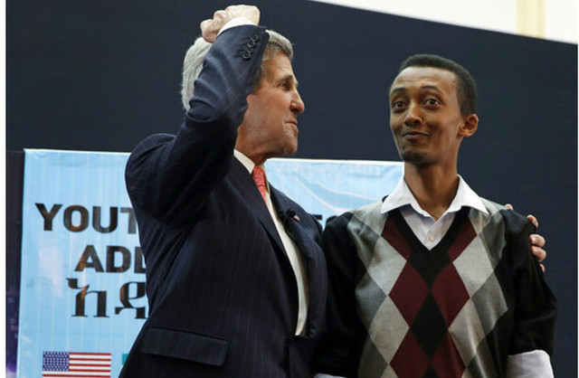 Natnael with US Secretary of State John Kerry, Addis Ababa, 2013.