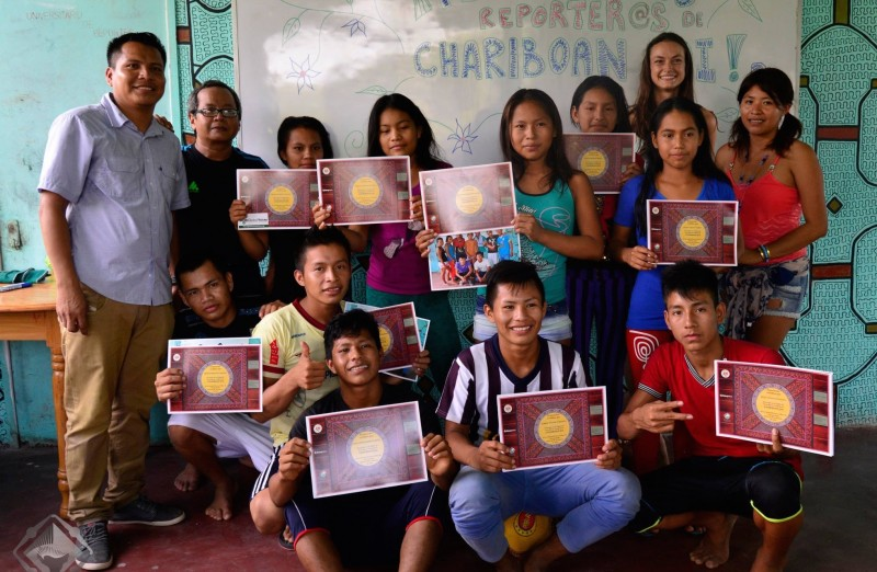 Chariboan Joi youth with certificates following citizen journalism training. Photo provided by project.