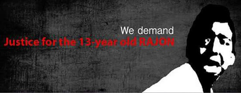 """We Demand Justice for 13-year-old Rajon."" A Facebook cover photo going viral among Bangladeshis."