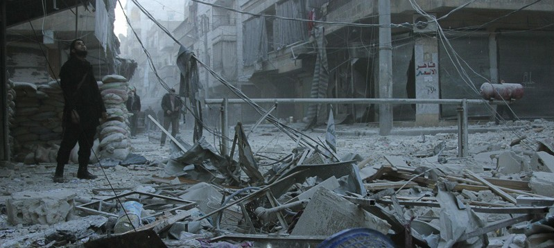 A residential area of Aleppo, after a bombing in 2014. Photo by Freedom House via Flickr (CC BY 2.0)