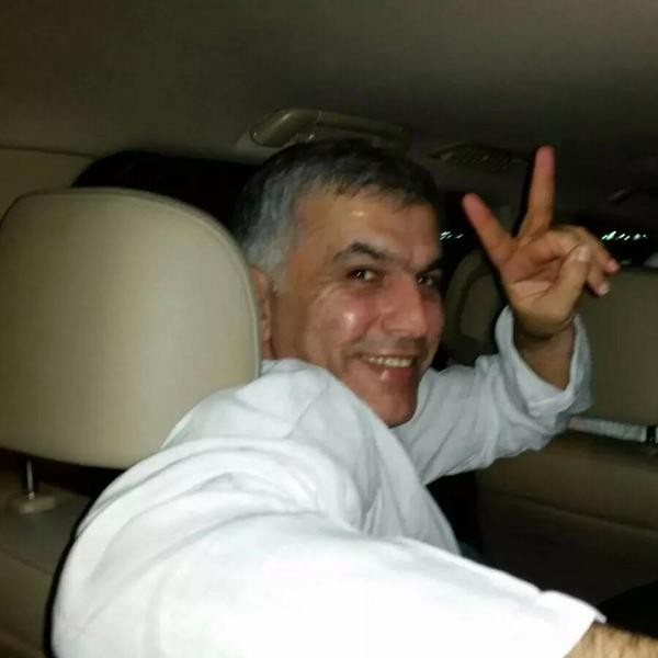 Bahraini human rights activist was freed tonight after a royal pardon. Photograph shared widely  on social media. Source: @nawaf_alhendal
