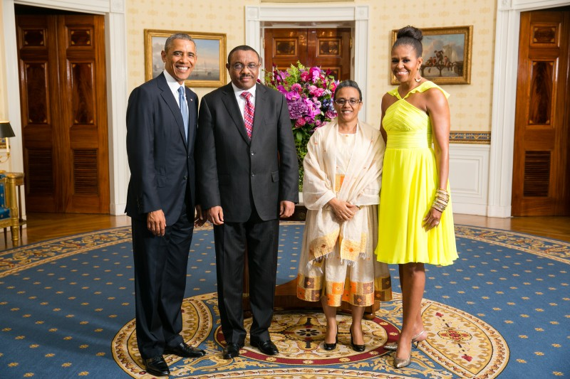 Barack and Michelle Obama greet Ethiopian PM Hailemariam Desalegn and  Ms. Roman Tesfaye at a U.S.-Africa Leaders Summit in 2014. Official White House Photo by Amanda Lucidon, released to public domain.