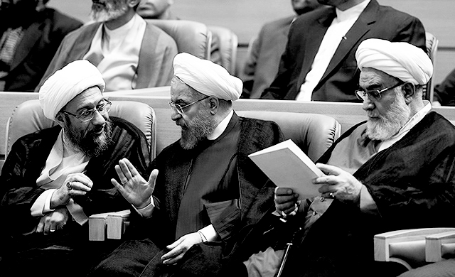 "The Supreme Leader's chief of staff Mohammadi Golpayegani (right): ""Opposing the Islamic [Republic] is certainly the greatest wrong and if anyone, in any cloth or position, opposes it, he has committed the worst vice because the pure blood of thousands of youth has been shed to establish this state."" Image from ICHRI."