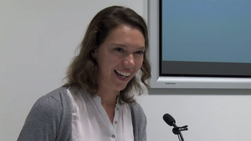"Katie Brown presenting her work on ""Manifiesto: País,"" where she explores responses to the ""prescriptive nationalism of Bolivarian cultural politics."" Screenshot taken from the presentation uploaded on YouTube by the Venezuelan Research Network."