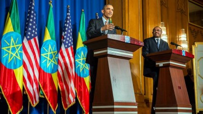 President Barack Obama and Ethiopia Prime Minister Hailemariam Desalegn hold a press conference at the National Palace