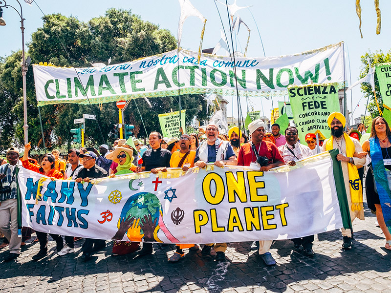 Climate change march at the Vatican on June 28, 2015. Photo by Flickr user EcoSikh. CC-BY-NC-SA 2.0