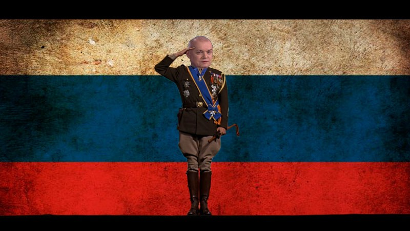 Dmitry Kiselyov declares war on Facebook and Instagram. Image edited by Kevin Rothrock.