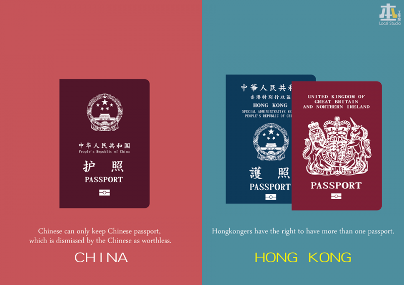 The Basic Law in Hong Kong grants Hong Kong people's right to have dual nationalities.