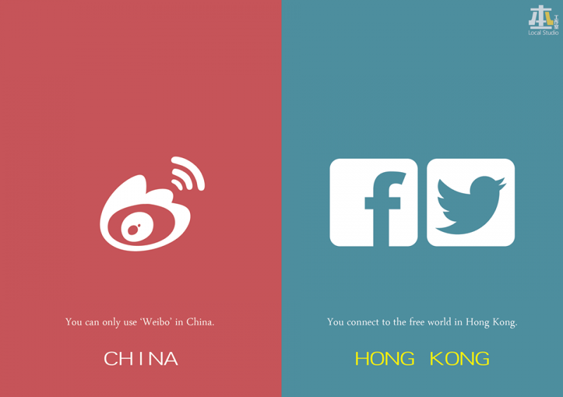 Facebook and Twitter are available in Hong Kong.