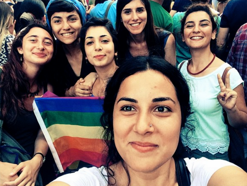 Hatice Ezgi Sadet stands at the far right of this group selfie, making a peace sign during a Gay Pride rally in Istanbul. Please note that this photo is not a photo of Suruç volunteers or victims, as the photo has widely been misrepresented on social media.  Credit: Hatice Ezgi Sadet's Instagram.