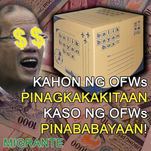 OFW boxes, milked for profit OFW cases, neglected! -Migrante