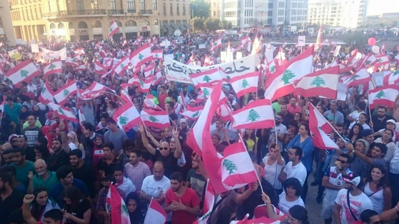 Lebanese protesters at Martyrs' Square in Beirut earlier today. Photo credit: You Stink Movement official Facebook page