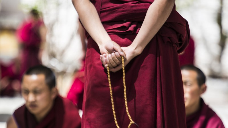 Monk's prayer beads, Sera Monastery. Image by Flickr user Swetha R. Used under a CC license BY-ND 2.0