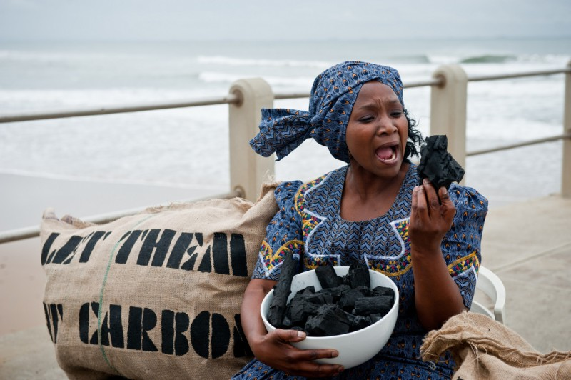 Oxfam International's 'Let Them Eat Carbon' stunt at the UN climate summit in Durban, South Africa, in 2011. Credit: Ainhoa Goma/Oxfam. CC BY-NC-ND 2.0