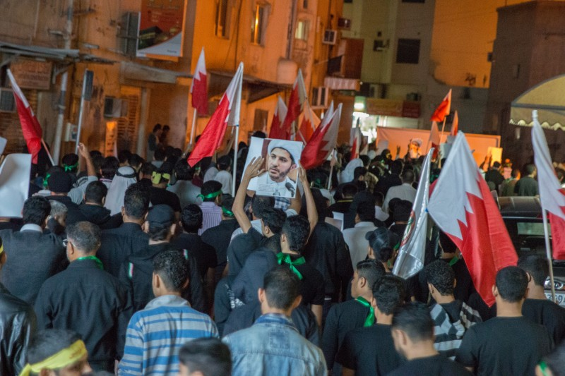 Bilad Al Qadeem, Bahrain. 30th December 2014 -- Marchers in Bilad Al Qadeem demanded the release of Sheikh Ali Salman, the Secretary-General of the Al-Wefaq political society in Bahrain, and main opposition to the current government. Photograph by bahrain14feb bilad. Copyright: Demotix