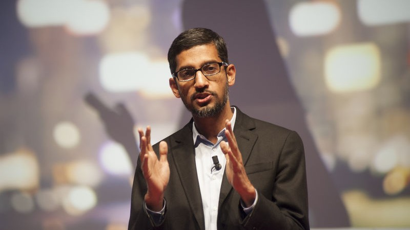 Sundar Pichai, the new CEO of Google, speaking at the Mobile World Congress 2015 in Barcelona as the senior vice president of Android, Chrome and Apps. Image by Charlie Pérez. Copyright Demotix (2/3/2015)