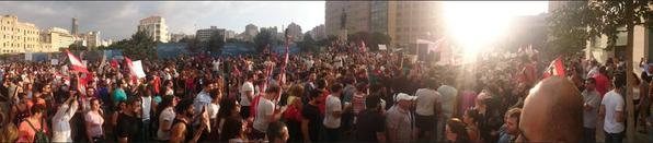 "Thousands of Lebanese protestors chanting ""You Stink"" outside parliament. Photo credit: @joeyayoub"