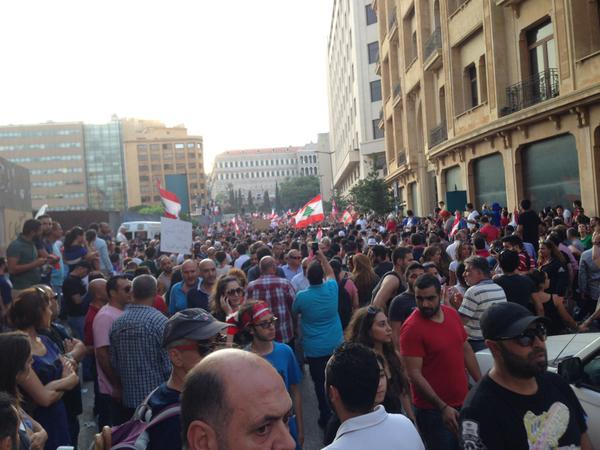 Lebanese protesters at Riad Solh, in downtown Beirut earlier today. Photograph shared by @_Richardhall on Twitter