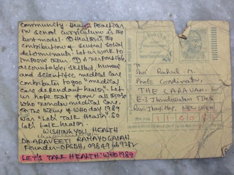 A postcard addressed to the journalist Rahul M. Credit: Rahul M