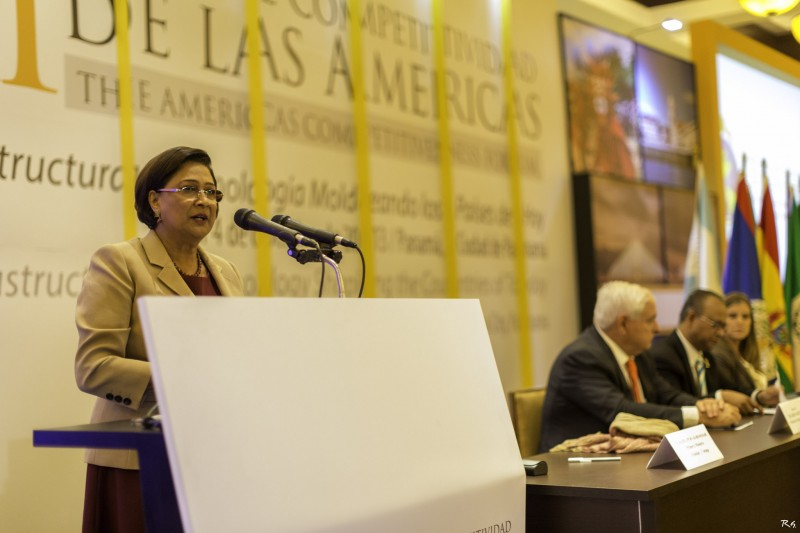 Prime Minister of Trinidad and Tobago, Kamla Persad-Bissessar,  speaking at the 7th Americas Competitiveness Forum in Panama. Photo by OEA - OAS, used under a CC BY-NC-ND 2.0 license.