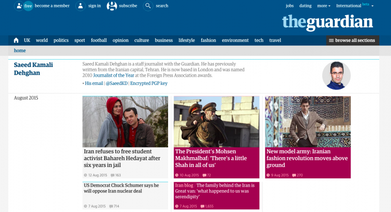 Saeed's Guardian profile page has over 700 articles. Screenshot of The Guardian website.